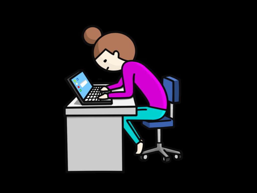 パソコン作業時の姿勢前傾
